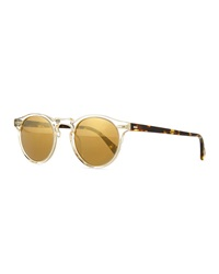 Oliver Peoples Gregory Peck Round Plastic Sunglasses Clear Tortoise