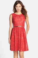 Belted Metallic Lace Fit And Flare Dress Coral