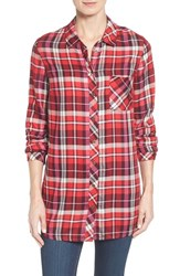 Kut From The Kloth Women's 'Collin' Plaid Flannel Shirt Red Burgundy
