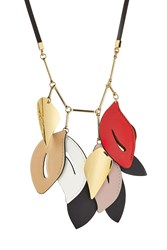 Marni Necklace With Leather And Brass Multicolor