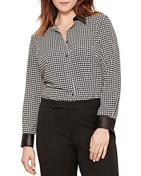 Ralph Lauren Plus Faux Leather Trim Houndstooth Shirt Black Cream