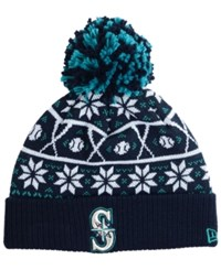 New Era Seattle Mariners Sweater Chill Pom Knit Hat Black