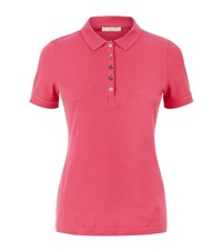 Burberry Check Detail Polo Shirt Female Coral