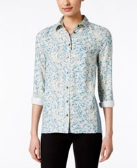 G.H. Bass And Co. Floral Print Long Sleeve Top Only At Macy's Spring Lake Blue