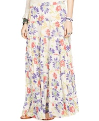 Denim And Supply Ralph Lauren Floral Print Tiered Maxi Skirt Tulum Floral