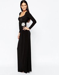 City Goddess Long Sleeve Maxi Dress With Diamante Flower Detail Black