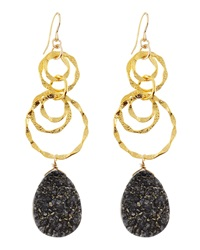 Devon Leigh Dark Gray Druzy Drop And Link Earrings
