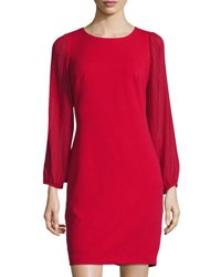 Donna Ricco Pleated Sleeve Crepe Dress Red