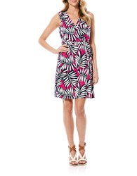 Laundry By Shelli Segal Printed Silk Wrap Dress Electric Pink