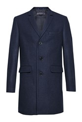 French Connection Men's Melton Wool Tailored Coat Blue