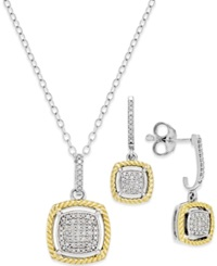 Macy's Diamond Rope Necklace And Earring Set 1 5 Ct. T.W. In 14K Gold And Sterling Silver