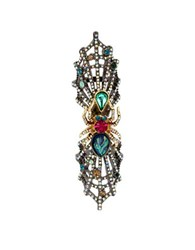 Betsey Johnson Skeletons After Dark Two Toned Spider Web Ring