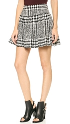 J.O.A. Printed Skirt In Checked Tweed Black White