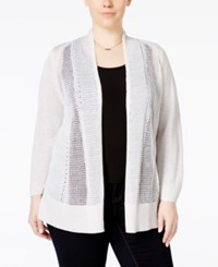 Alfani Plus Size Multi Stitch Textured Cardigan Only At Macy's Bright White