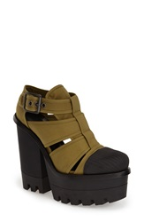 Hunter 'Original' Canvas Platform Sandal Women Light Olive