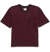 Wooyoungmi Contrast Trimmed Wool T Shirt Burgundy