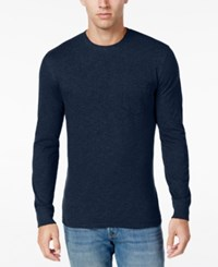 Club Room Men's Jersey Cotton Long Sleeve T Shirt Only At Macy's Navy Blue