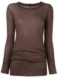Rick Owens Long Sleeve T Shirt Brown