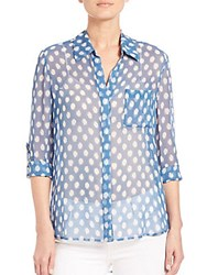 Diane Von Furstenberg Lorelei Two Silk Shirt Dotted Batik Blue