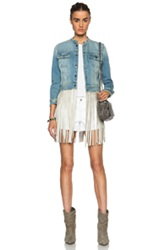 Theperfext Molly Denim And Leather Fringe Jacket In Blue