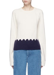 Chloe Scalloped Contrast Wool Cashmere Sweater Neutral