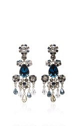 Oscar De La Renta Crystal Flower Earrings Black
