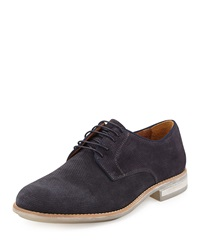 Kenneth Cole Right Time Perforated Suede Oxford Shoe Navy