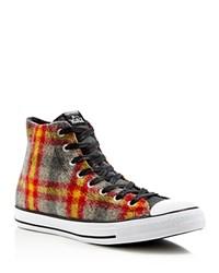 Converse Chuck Taylor All Star Woolrich Plaid High Top Sneakers Red Blue Yellow
