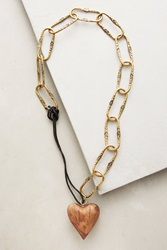 Anthropologie Cross My Heart Necklace Brown