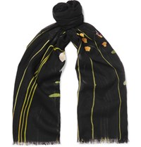 Paul Smith Floral Print Modal And Cotton Blend Scarf Black