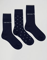 Emporio Armani 3 Pack Socks In Gift Box Navy