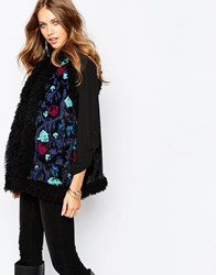 Anna Sui Paisley Embroidered Gilet In Faux Fur Blackmulti