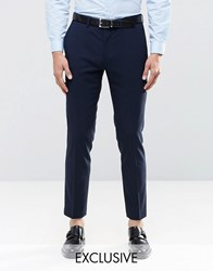 Only And Sons Skinny Suit Trousers With Stretch Navy