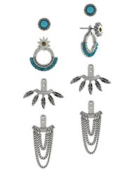 Bcbgeneration Earring Jacket Mixed Media 4 Pair Set Silver Teal