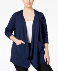 Styleandco. Style Co. Plus Size Open Front Hooded Cardigan Only At Macy's Industrial Blue