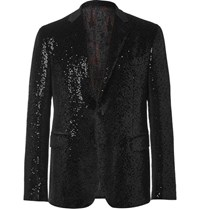 Etro Black Sequinned Velvet Tuxedo Jacket Black