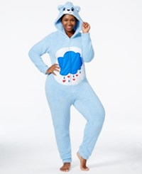 Briefly Stated Plus Size Fuzzy Grumpy Bear Hooded Jumpsuit
