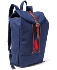 Polo Ralph Lauren Men's Big Pony Canvas Backpack Navy Red