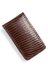 Boconi Lizard Magnetic Money Clip Brown