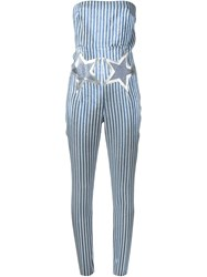 Giamba Stars And Pinstripes Print Strapless Jumpsuit Blue
