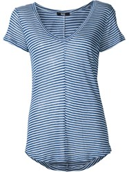 Paige Scoop V Neck Striped T Shirt Blue