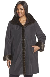 Gallery Stand Collar Storm Coat With Faux Fur Trim And Lining Plus Size Black