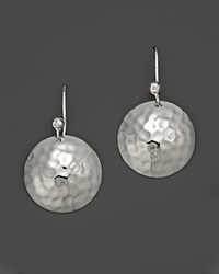 Ippolita Medium Hammered Sterling Silver Dome Disk Earrings With Diamond No Color