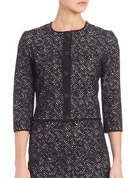 St. John Jacquard Knit Three Quarter Sleeve Cardigan Caviar