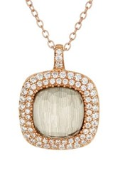 Savvy Cie 18K Rose Gold Plated Sterling Silver Dome Cat Eye And Cz Halo Square Pendant Necklace Gray