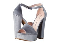 Chinese Laundry Ace Steel Blue Rich Velvet High Heels Silver