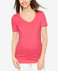 A Pea In The Pod Maternity Ruched V Neck Tee Red Chili