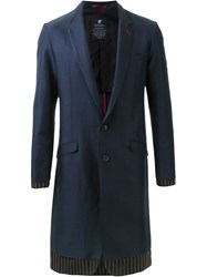 Loveless Contrast Panel Long Single Breasted Jacket Blue