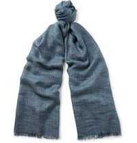Loro Piana Brina Melange Cashmere And Silk Blend Scarf Blue