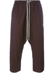 Rick Owens Drop Crotch Crop Trousers Brown